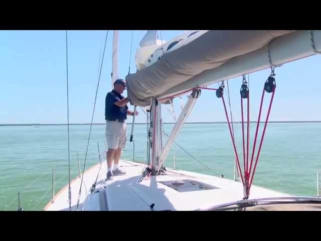 Offshore Sailing School - Removing Lazy Jacks to Hoist Mainsail