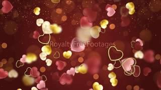 golden heart particles | heart background animation | love background loop | heart background video