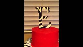 Pink and Zebra Print Birthday Cake