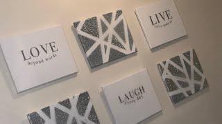 LAUGH, LIVE, LOVE CANVAS DIY USING A CRICUT W/EPOXY FINISH|WALL DECOR|ABSTRACT  WALL ART|CRICUT DIY|
