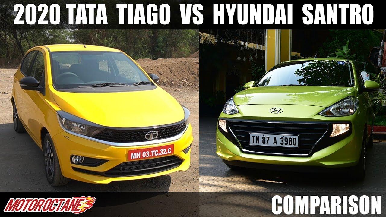 Motoroctane Youtube Video - 2020 Tata Tiago BS6 VS Hyundai Santro BS6   HINDI   MotorOctane
