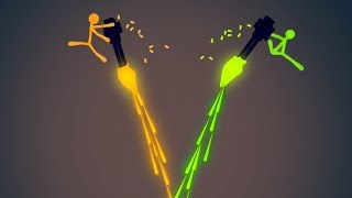 EXTREME FLYING MINIGUN STICK FIGHT! (Stick Fight #11)