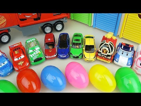 Cars and Poli car toys station surprise eggs play
