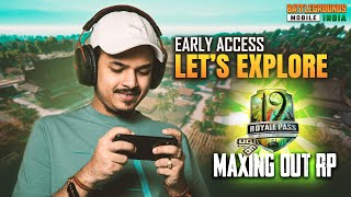 BGMI FIRST LOOK AND MAXING OUT RP 19 || BATTLE GROUNDS MOBILE INDIA IS HERE - GROUND
