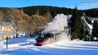 IVK-Dampf auf der winterlichen Preßnitztalbahn