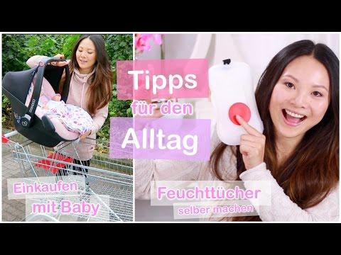 TIPPS IM ALLTAG! EINKAUFEN MIT BABY | FEUCHTTÜCHER SELBER MACHEN | HAARROLLER DUTT | Mamiseelen