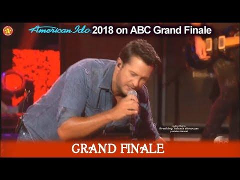 "Luke Bryan sings ""Sunshine Sunburn Sunset"" American Idol 2018  Grand Finale"