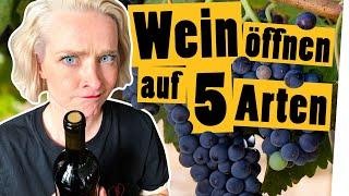 Challenge: Weinflasche öffnen ohne Korkenzieher    Das schaffst du nie!