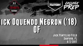 Nick Oquendo Baseball Factory Tryout at Seminole State College April 2 2017