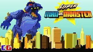 МОНСТРЫ В ГОРОДЕ! БИТВА С ПИКСЕЛЬНЫМИ МУТАНТАМИ! Мультяшная игра Super Man Or Monster