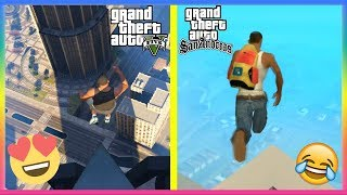 GTA 5 Vs GTA San Andreas - Jumping Off The TALLEST BUILDING