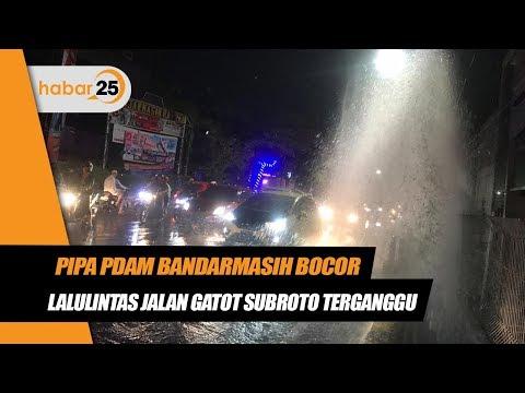 Pipa PDAM Bandarmasih Bocor, Lalulintas Jalan Gatot Subroto Terganggu