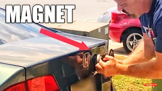HOW TO UNLOCK A CAR TRUNK WITH A MAGNET!!!