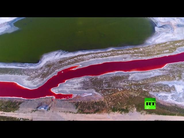 فيديو مبهر للبحيرات الملونة المالحة الرائعة الجمال في يوتشنج الصينية