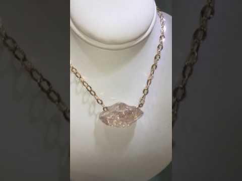 Morganite (rough) 14k rose gold necklace