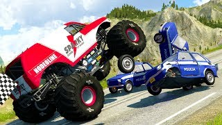 SMALLEST POLICE CARS TAKE DOWN GIANT MONSTER TRUCKS! - BeamNG Drive Police Car Chase