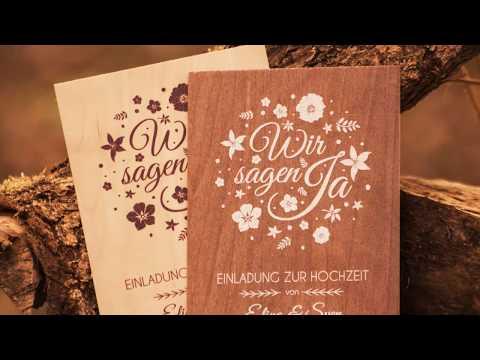 Hochwertige Einladungskarten aus Holz