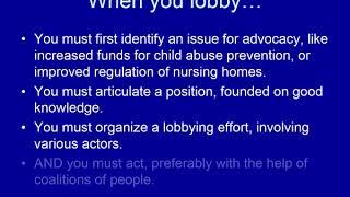 Policy advocacy and legislative lobbying
