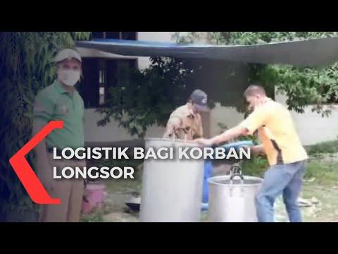 Ratusan Pengungsi Tanah Longsor Dapat Bantuan Logistik