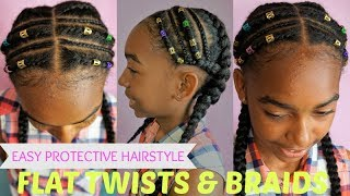 KIDS NATURAL HAIR PROTECTIVE STYLE - FLAT TWISTS & BRAIDS ( A KEYS INSPIRED)
