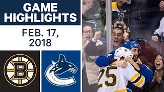NHL Game Highlights | Bruins vs. Canucks - Feb. 17, 2018