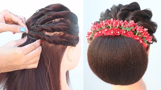 Trending Hairstyle For Lehenga || Hairstyle For Short Hair || Bridal Hairstyle || High Bun Hairstyle