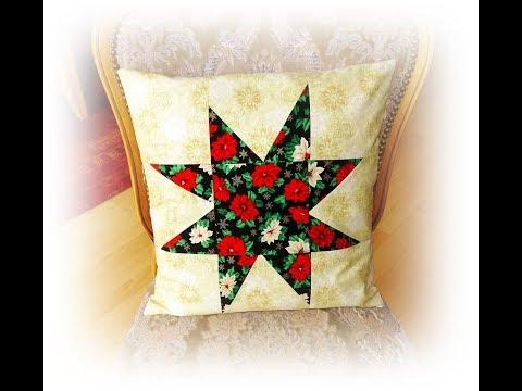 Patchwork Kissenbezug mit Stern  nähen für Anfänger Weihnachtsdeko