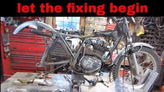 engine work on the old honda 250 trials bike,