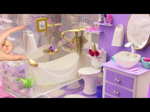 Como hacer BAÑO Completo con TINA UNICORNIO para CASA de MUÑECAS Barbie / MANUALIDADES PARA MUÑECAS