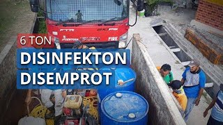 Antisipasi Penularan Covid-19, 6 Ton Disinfektan Disemprotkan di Kampung Jawa Sungailiat