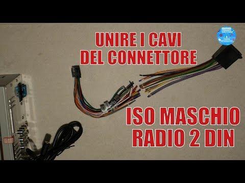 Saldare cavi connettore ISO Autoradio 2 DIN con guaina Termorestringente