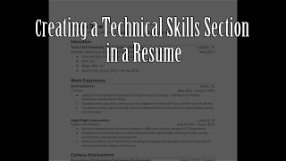 Creating a Technical Skills Section in a Resume