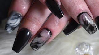Black Marble Acrylic Nails