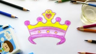 How to Draw Pink Princess Crown   Coloring Pages for Children   Art Colours with Colored Pencils