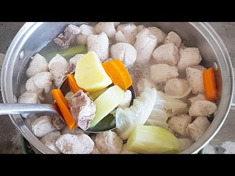 Video FRESH Fish Cake, Pork, And Vegetable Soup - Village Cooking Recipe