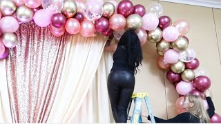 ITS A GIRL! HOW TO DIY PARTY OR DRESS TABLE & BACKDROP IDEAS | BALLOON GARLAND/ARCH