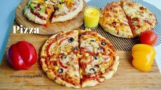 Pizza With & Without Oven || Pan Pizza -Kadai Pizza || Veg & Chicken Pizza || Ep:683