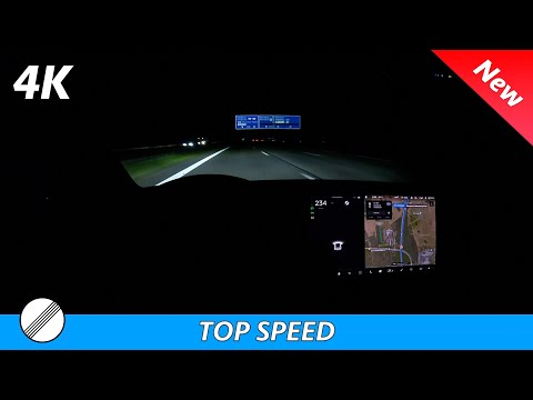 Tesla Model 3 LR 2021 490 HP - Top Speed   Germany canceling NO Speed limit zones? Night POV 4K