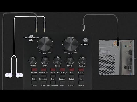 V8 Sound Card Audio Interface USB Live Broadcast Microphone