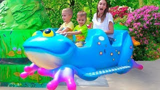 Outdoor Playgrounds for kids Amusement park playtime with Vlad Family