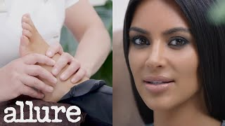 Kim Kardashian Interviewed About Kanye While Getting a Foot Massage | Allure - Video Youtube