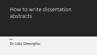 How to write dissertation abstracts