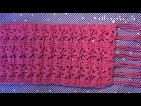 Crochet scarf tutorial I Dạy móc khăn len họa tiết bông hoa 3 cánh