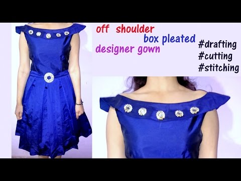 Off shoulder party wear gown with box pleats DIY | step by step tutorial