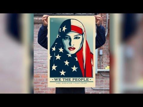 'Hope' street artist creates anti-Trump signs
