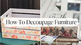 How To Decoupage Furniture & Home Decor With Image Transfer Medium | Decoupaging Tutorial