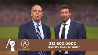 Chicago attorney Howard Ankin and White Sox MVP Scott Podsednik in a commercial for Ankin Law Office.