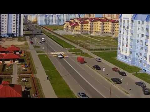 Нанесение дорожной разметки на пешеходном переходе. TimeLapse