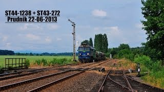 preview picture of video '[ PKP Cargo ] ST44-1238+ST43-272 z składem tłucznia @ Prudnik. 2013-06-22'