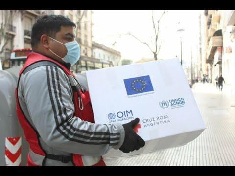 UE, OIM y Cruz Roja entregan alimentos y elementos de protección a personas refugiadas y migrantes